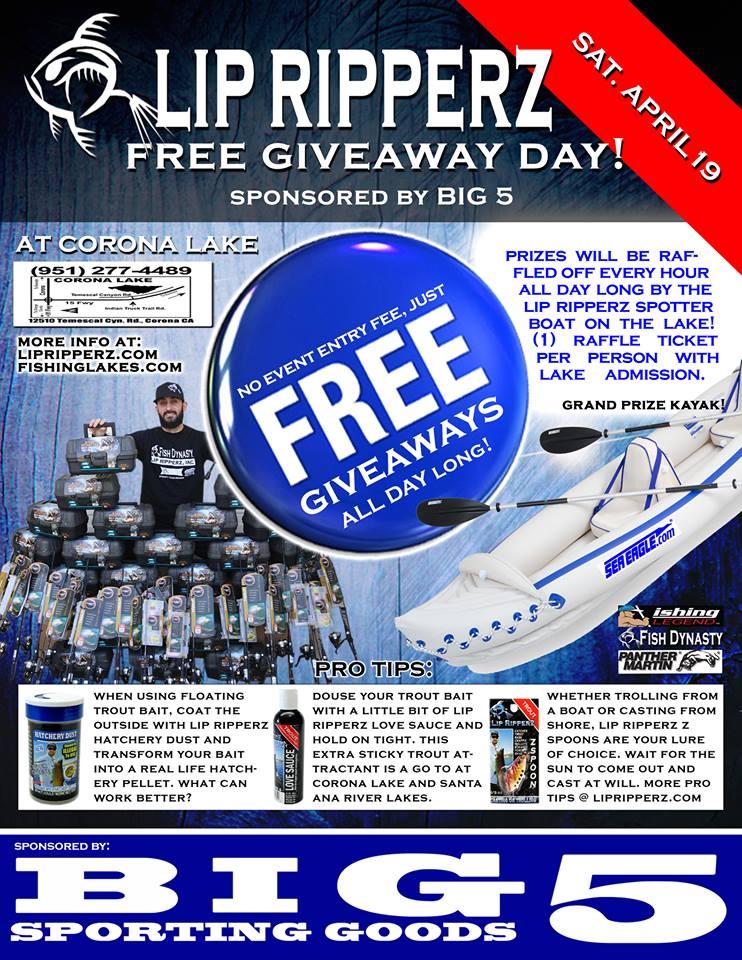 Lip ripperz free giveaway day corona lake sat april 19 for Free fishing tackle giveaway