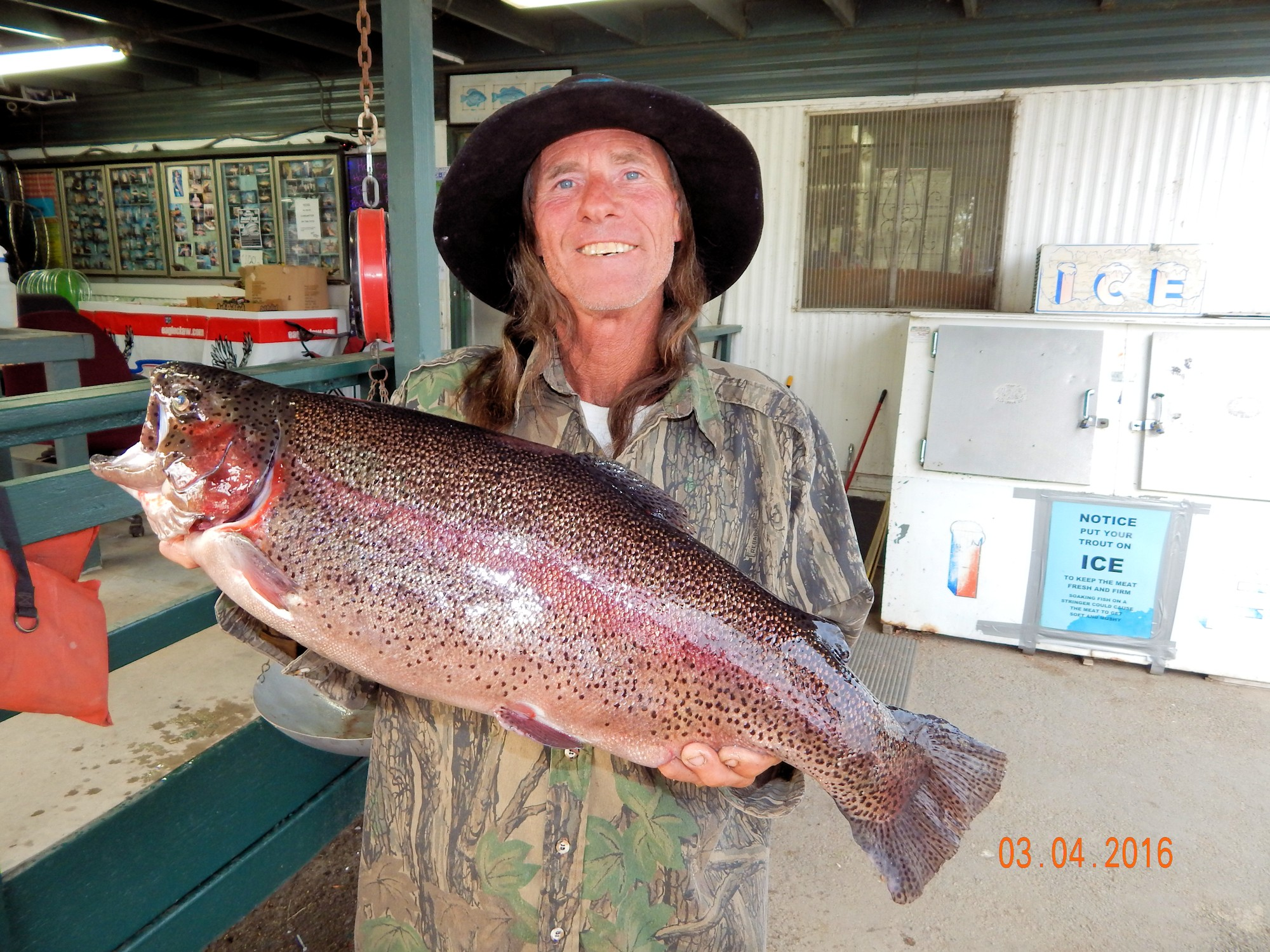David Halfacre of West Covina caught a 13 pound rainbow trout