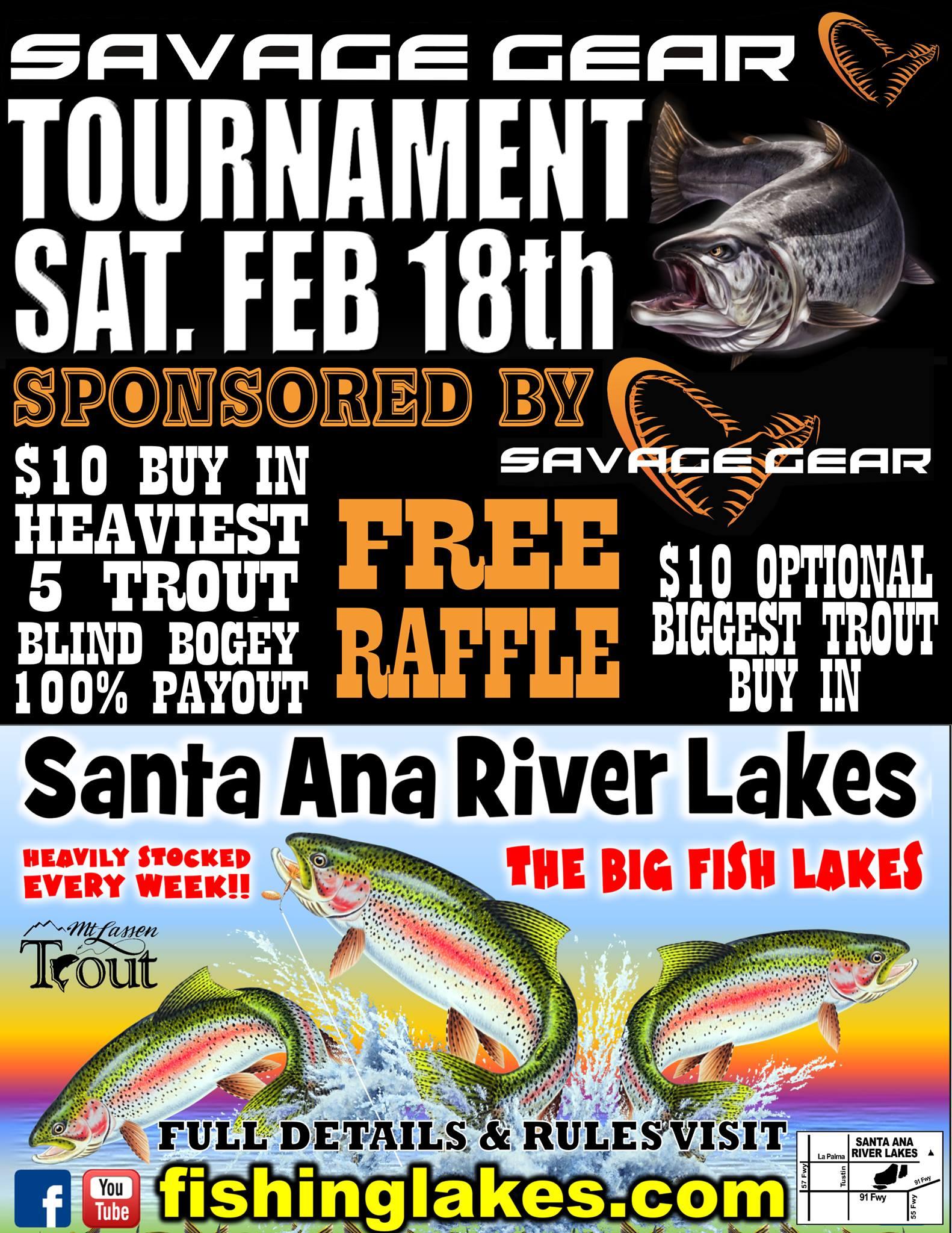 Sat feb 18th savage gear tournament santa ana river for Santa ana river lakes fishing tips